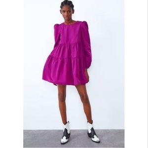 ZARA Voluminous Pink Tiered Taffeta Trapeze Mini Dress ⭐Blogger Favorite⭐